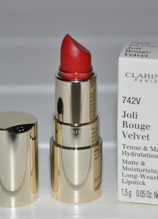 Матовая версия легендарной губной помады clarins joli rouge velvet миниатюра 1,5г № 742v