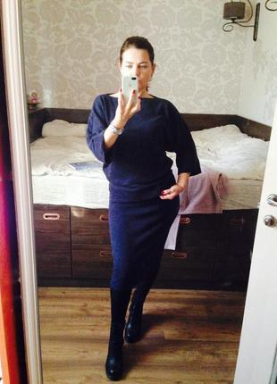Темно-синий костюм ангора юбка и кофта