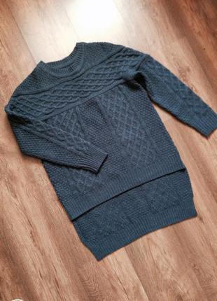 Стильный свитер асимметрия крупная вязка
