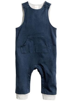 Хлопковый синий комбинезон 12-18 мес рост 86 см h&m