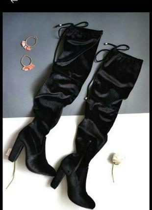 Ботфорты велюр велюровые сапоги чулки высокие черные