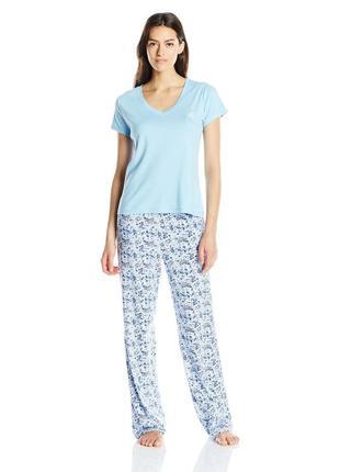 Tommy hilfiger пижама голубая футболка и штаны в цветочек бренд оригинал l