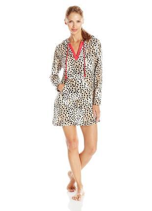 Betsey johnson оригинал туника халат микрофлис леопард бренд из сша