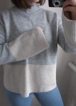 Двухцветный свитер papaya с  клеш рукавами свитер серый белый