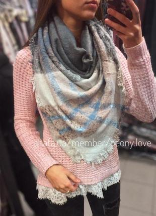 Теплый шарф плед платок в клетку серый