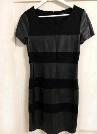 Платье only с вставками с эко-кожи, короткий рукав
