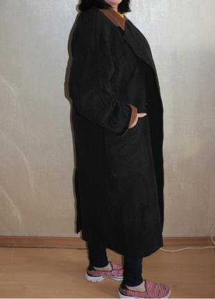 Пальто шинель модель 2019 накладные карманы спущенные плечи шерсть ravens (к035)
