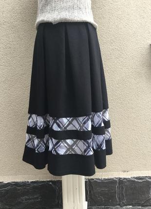 Комбинированная,пышная юбка,встречная складка,хлопок+полиэстер