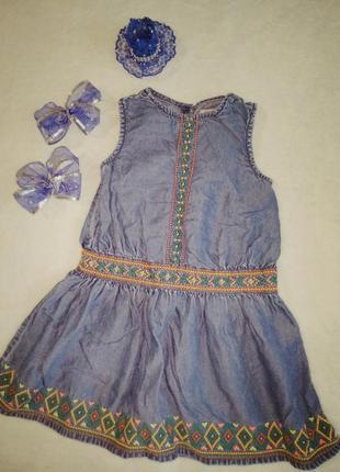 Невероятное платье джинсовое с вышивкой орнамент