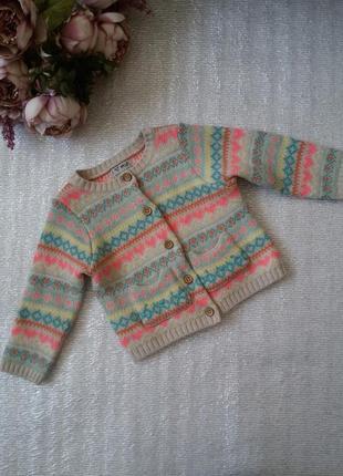 Кардиган кофта вязаная теплая на пуговицах с орнаментом для девочки next 12-18