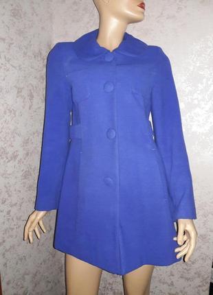 Пальто синее  на кнопках размер 10-12
