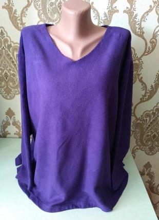 Фиолетовый флисовый джемпер большой размер