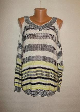 Хит сезона! шикарный свитер с открытыми плечиками оверсайз l/12/46 размера