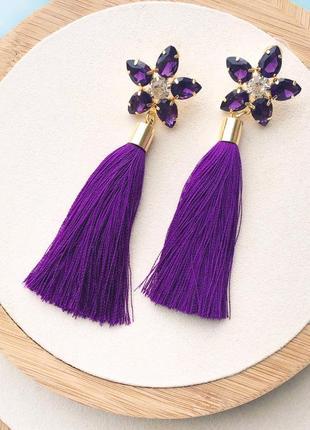 Фиолетовые серьги с цветами и кисточками