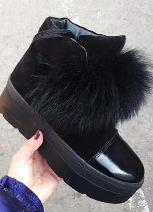 Ботинки зимние замшевые на платформе р36,37