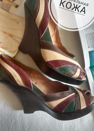 """Натуральная кожа! стильные туфли на танкетке с открытым носком """"office london"""""""
