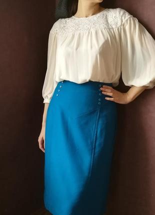 Синяя винтажная юбка миди из 100%шерсти!
