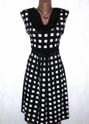 Черно белое платье сарафан от taifun стройнит размер: 44-s, m