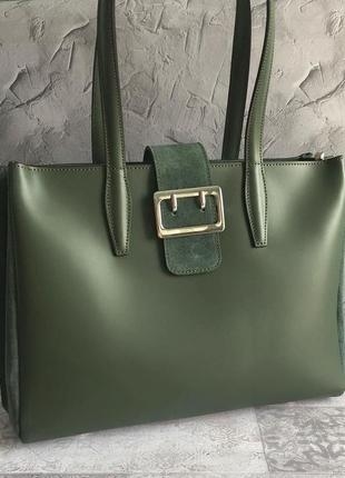 Итальянская сумка кожа и замша
