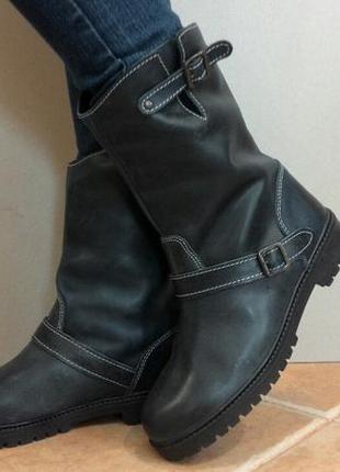 Зимние кожаные сапоги импортного производства стелька 25.5 см