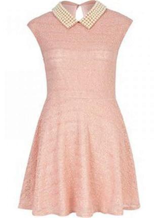 Платье цвета пудры с жемчужным воротником😍 river island s-m