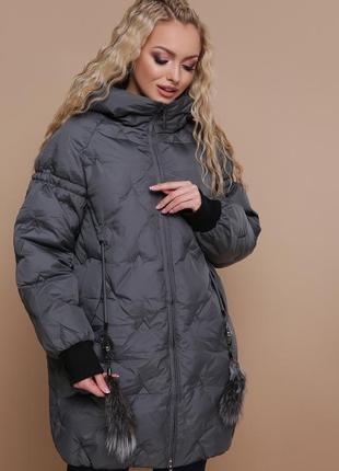 Куртка зимняя оверсайз с капюшоном размеры s,m,l,xl,2xl