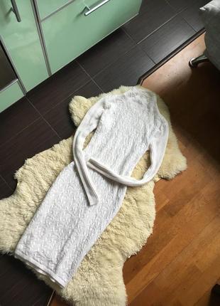 Белоснежное длинное/миди вязаное платье mango