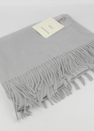 Плотный, нежный кашемировый шарф, палантин sky cashmere 7080-4 светло-серый