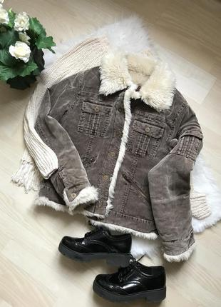 Куртка джинсовка вельветовая шерпа на меху