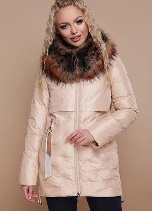 Куртка женская зимняя с капюшоном, мех-енот размеры:s, m, l, xl, 2xl