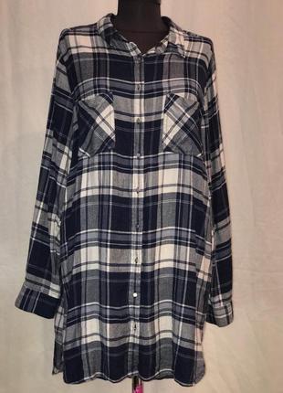 Модная удлинённая рубашка в клетку george большого размера