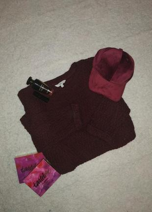 Бордовый свитер крупная вязка оверсайзный винный asos цвет широкий