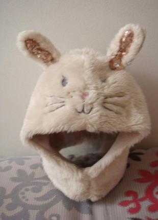 Angels меховая мимимишная шапка шлем зайчик 3 - 6 лет