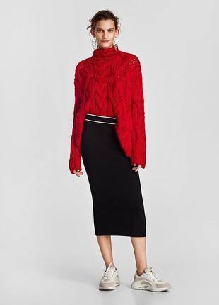 Миди-юбка с контрастной полосой zara