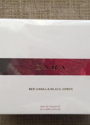 Zara 2х100мл red vanilla and black amber духи
