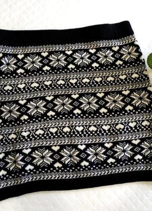 Теплая вязаная юбка с скандинавским принтом в сердечки размер 14-16(44-46)
