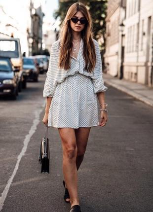 Платье -рубашка в горох zara