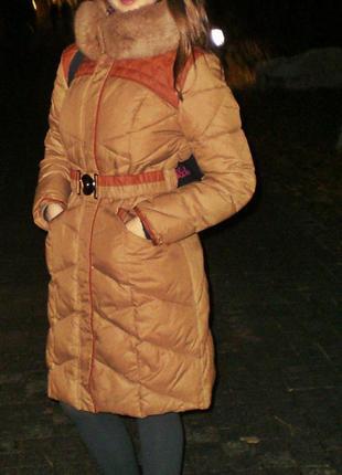Куртка пуховик рыжая пальто длинный зимняя осень s m l xl