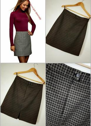🎅 новорічні знижки! ricci capricci модная юбка в трендовую клетку из натуральной ткани