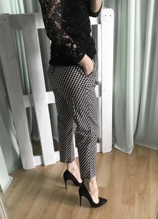 Черные/оранжевые/белые хлопковые брюки штаны с высокой посадкой/талией marks & spencer m&s