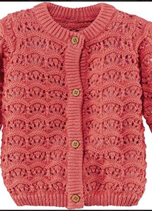 Красивая вязаная ажурная кофта свитер lupilu 0-2мес