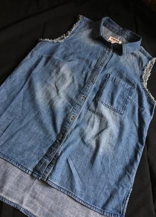 Джинсовая рубашка без рукавов от cropp