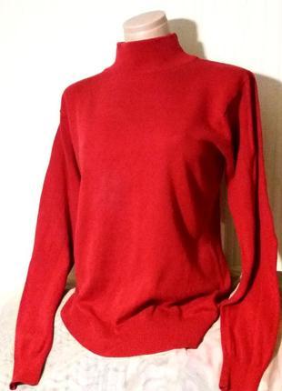 Коттоновый красный свитер,джемпер,52-54разм.,vavite,пог-55-62см