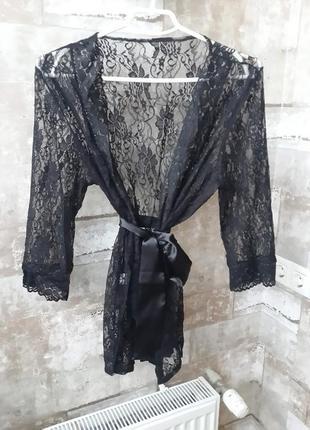Черный ажурных халатик. размер xxl