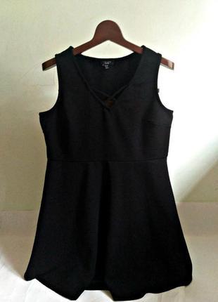 Черное базовое платье - плотный фактурный трикотаж