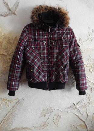Теплая зимняя куртка, пуховик, курточка в клетку l-xl -boulevard