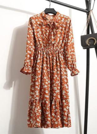 Брендовые терракотовое, бордо пышное платье с завязками бантом+ разные расцветки