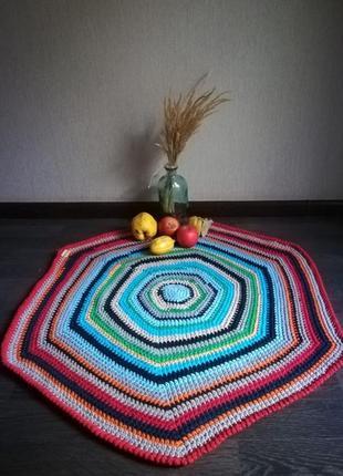 Вязаный коврик из пряжи спагетти handmade
