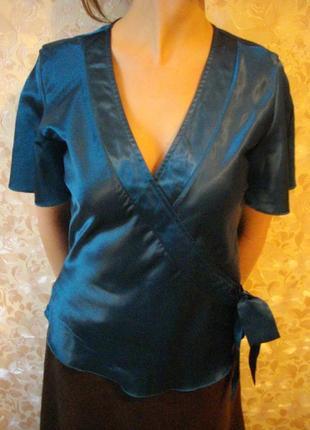 Атласная блуза, цвет морская волна