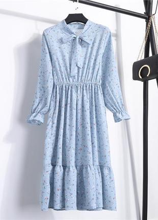 Нежнейшие винтажное миди платье с пышной оборкой и бантом+ разные расцветки